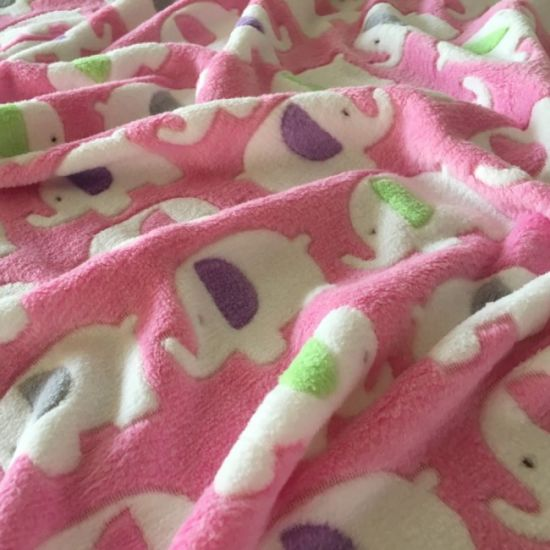 Print Coral Fleece Fabric with Pink Elephants