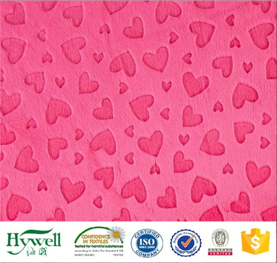 Brushed Soft Fabric Heart Design Embossed Velboa for Home Textile